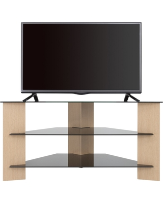 """42"""" TV Stand with Glass Shelves - Oak/Black"""
