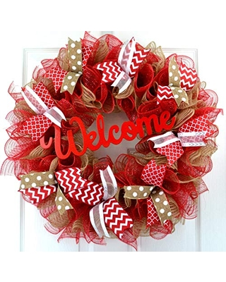 Mother's Day Gift   Jute burlap everyday year round welcome wreath; red white brown