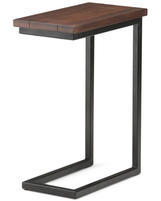 Brooklyn + Max Glenna Solid Mango Wood and Metal 18 inch Wide Rectangle Industrial C Side Table in Dark Cognac Brown, Fully Assembled