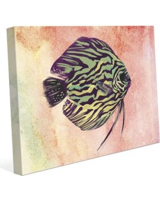 "Click Wall Art Chartreuse Discus Stripes Painting Print on Wrapped Canvas RBH0000074CAN Size: 20"" H x 24"" W x 1.5"" D"