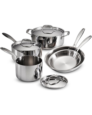 Tramontina Gourmet Tri-Ply Clad 8-Piece Stainless Steel Cookware Set, Silver