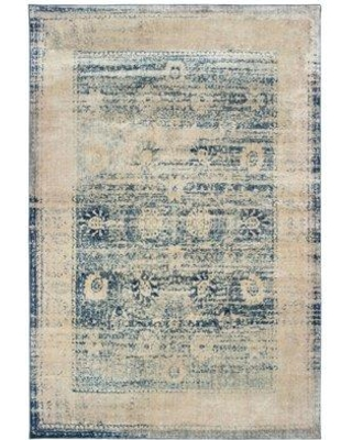 """World Menagerie Pateros Distressed Border Ivory/Blue Area Rug BF205335 Rug Size: Runner 2'3"""" x 7'6"""""""