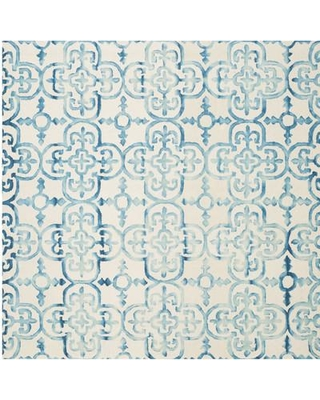 Bungalow Rose Naples Park Hand-Tufted Ivory/Turquoise Area Rug BGRS6529 Rug Size: Square 7' x 7'