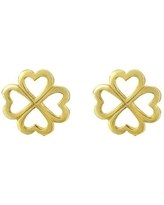 Handmade Sweet Heart Four-Leaf Clover Gold-Plated Sterling Silver Stud Earrings (Thailand)