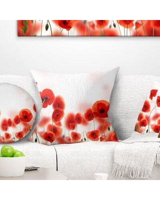 "East Urban Home Floral Poppy Flowers Background Throw Pillow FUVD0945 Size: 18"" x 18"" Product Type: Throw Pillow"