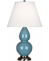 "Robert Abbey 22 3/4"" Steel Blue Ceramic/Silver Table Lamp"
