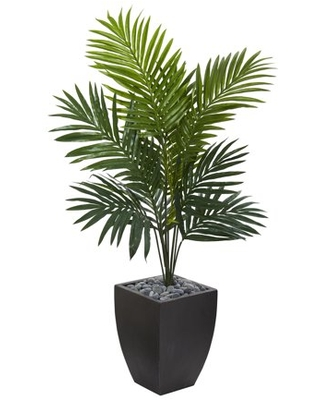 Nearly Natural 4.5ft. Kentia Palm Artificial Tree in Black Wash Planter, Green