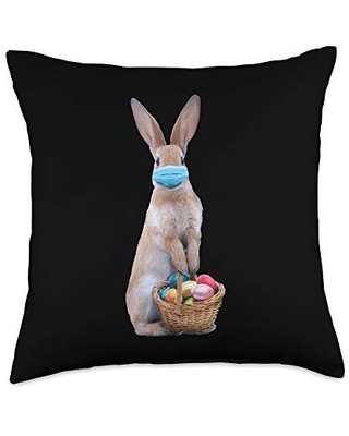 Easter Bunny Quarantine 2021 Gifts Bunny in Face Mask with Chocolate Eggs Easter Basket Throw Pillow, 18x18, Multicolor
