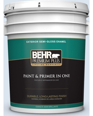 BEHR Premium Plus 5 gal. #570A-2 Geyser Semi-Gloss Enamel Exterior Paint and Primer in One