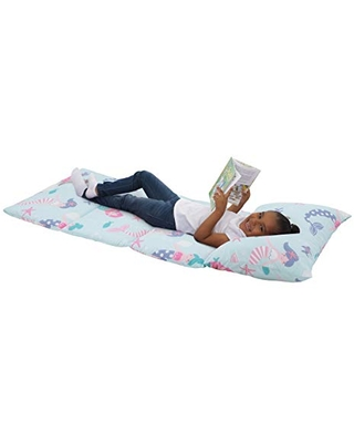 Everything Kids Pink, Lavender & Aqua Mermaid Deluxe Easy Fold Nap Mat, Aqua, Pink, Lavender, Teal