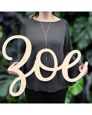 """Custom Personalized Wooden Name Sign 12-55"""" WIDE - ZOE Font Letters Baby Name Plaque PAINTED nursery name nursery decor wooden wall art, above a crib"""