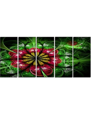 'Dark Yellow and Green Flower' Graphic Art Print Multi-Piece Image on Canvas Design Art
