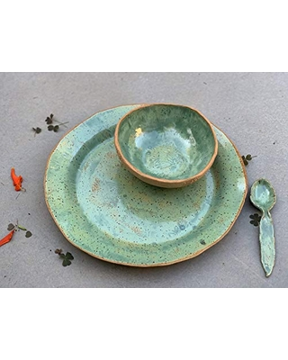 Green and Beige Plate Bowl and Spoon Set, Handmade Clay Artisan Kitchen Ceramic Serving Dip Dish