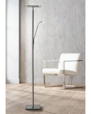 Hector Brushed Nickel LED Torchiere Lamp with Reading Light