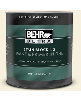 BEHR ULTRA 1 qt. #340C-1 Powder Sand Semi-Gloss Enamel Exterior Paint and Primer in One