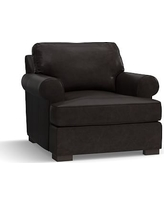 Townsend Roll Arm Leather Armchair, Polyester Wrapped Cushions, Leather Vintage Midnight