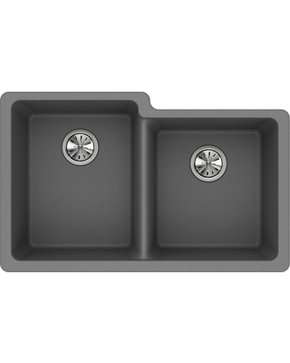 Elkay Quartz Classic Undermount Composite 33 in. Square Offset Double Bowl Kitchen Sink in Greystone