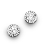Halo Diamond Stud Earrings in 14K White Gold, 0.30 ct. t.w. - 100% Exclusive