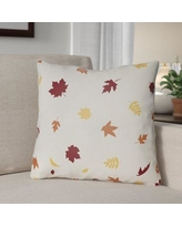 """The Holiday Aisle Falling Leaves Indoor/Outdoor Throw Pillow HLDY1190 Size: 18"""" H x 18"""" W x 4"""" D, Color: White/Red/Yellow"""