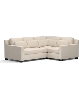 York Square Arm Upholstered Deep Seat Left Arm 3-Piece Corner Sectional, Down Blend Wrapped Cushions, Performance Everydaylinen(TM) by Crypton(R) Home Oatmeal