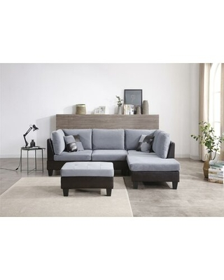 """Haider 99"""" Wide Reversible Modular Sofa & Chaise Red Barrel Studio® Upholstery Color: Gray"""