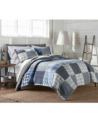 Shavel Thermee Micro Flannel Reverse to Sherpa Comforter Set, Ultramarine Plaid, Full/Queen (THRSHCMFQUMP)