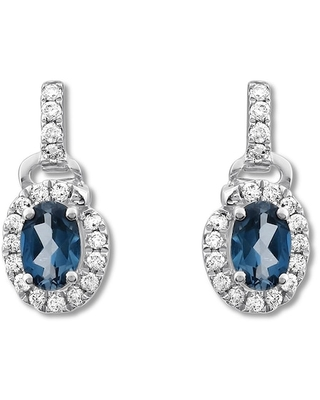 Jared The Galleria Of Jewelry Blue Topaz Dangle Earrings 1/3 ct tw Diamonds Sterling Silver