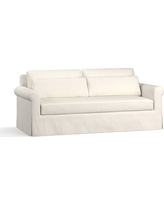"York Roll Arm Slipcovered Deep Seat Sofa 84"" with Bench Cushion, Down Blend Wrapped Cushions, Performance Heathered Tweed Ivory"