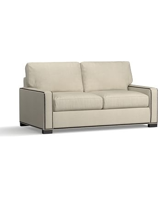 Turner Square Arm Upholstered Deluxe Sleeper Sofa with Bronze Nailheads, Polyester Wrapped Cushions, Premium Performance Basketweave Oatmeal