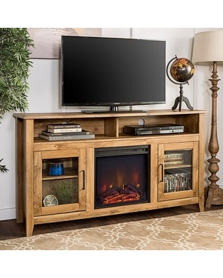 58-inch Highboy 2-Door Fireplace TV Stand Console (Barnwood)