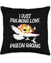 Funny Love Dove Animal Tournaments Themed Designs Racing Gift for Men Women Homing Pigeon Bird Lovers Throw Pillow, 16x16, Multicolor