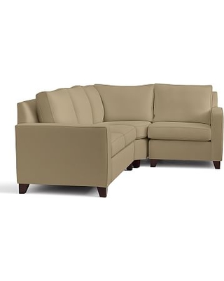 Cameron Square Arm Upholstered Left Arm 3-Piece Wedge Sectional, Polyester Wrapped Cushions, Performance Everydaysuede(TM) Light Wheat