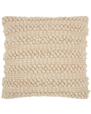 """20""""x20"""" Oversize Woven Striped Life Styles Square Throw Pillow Beige - Mina Victory"""