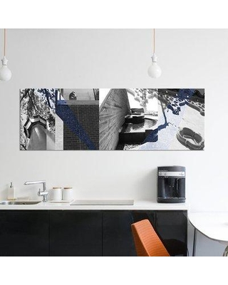 """East Urban Home 'Architecture Collage III' Graphic Art Print on Wrapped Canvas ERBS6996 Size: 12"""" H x 36"""" W x 1.5"""" D"""
