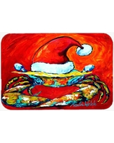 The Holiday Aisle Crab in Santa Hat Santa Claws Glass Cutting Board THLA3773