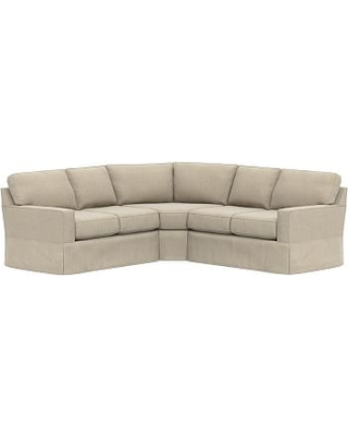 Buchanan Square Arm Slipcovered Curved 3-Piece L-Shaped Sectional, Polyester Wrapped Cushions, Sunbrella(R) Performance Chenille Cloud