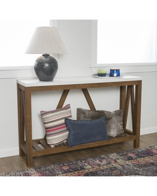 Manor Park Modern Farmhouse Faux Marble and Walnut Entryway Table, Faux White Marble/Walnut