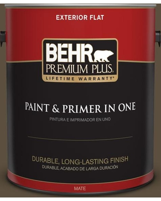 BEHR PREMIUM PLUS 1 gal. #S-H-720 Volcanic Island Flat Exterior Paint and Primer in One