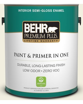 BEHR Premium Plus 1 gal. #GR-W01 White Wool Semi-Gloss Enamel Low Odor Interior Paint and Primer in One
