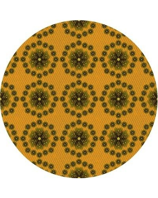 East Urban Home Camak Floral Wool Yellow Area Rug X112670670 Rug Size: Round 3'