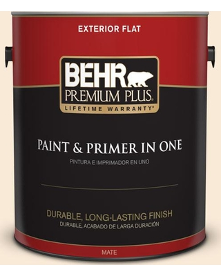 BEHR Premium Plus 1 gal. #300C-1 Princess Ivory Flat Exterior Paint and Primer in One