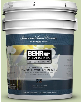 BEHR Premium Plus Ultra 5 gal. #M360-3 Avocado Whip Satin Enamel Interior Paint and Primer in One