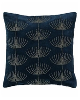 """Mod Lifestyles Holiday Blue Collection Jewish Candelabra Velvet Embroidery And Beads Pillow, 20"""" X 20"""" - Navy"""