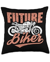 Fathers-Day Pillows Dad Daddy Papa Men Gifts Future Biker Classic Motorcycle Cool Motorbike Riding Rider Throw Pillow, 18x18, Multicolor