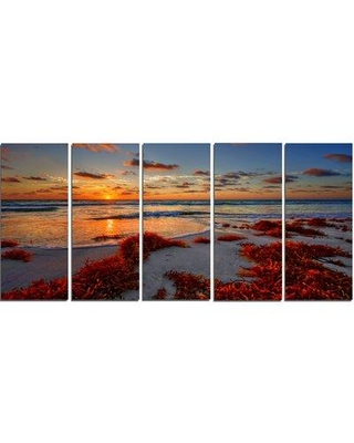 Design Art 'Beautiful Shore and Cloudy Sky' 5 Piece Photographic Print on Wrapped Canvas Set PT14439-401
