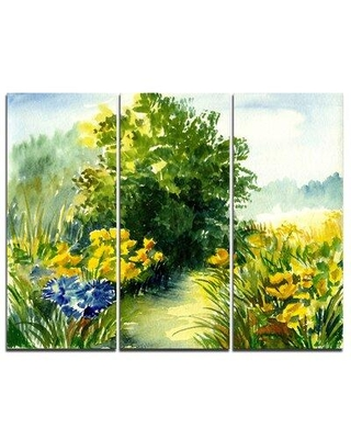 Design Art Watercolor Greenery - 3 Piece Painting Print on Wrapped Canvas Set PT6242-3P