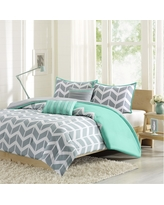 Teal (Blue) Darcy Comforter Set Chevron King/California King 5pc 7pc