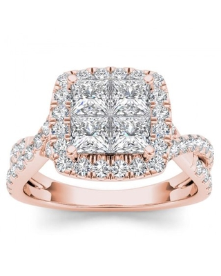 2ct TW Diamond 14K Rose Gold Cluster Halo Twisted Shank Engagement ring