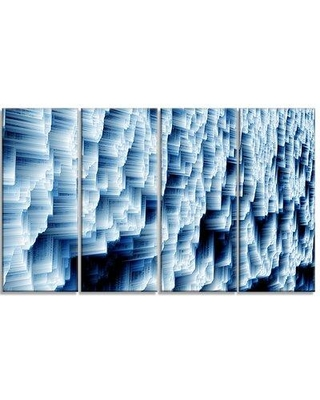 """Design Art Abstract Ice 4 Piece Photographic Print on Wrapped Canvas Set, Canvas & Fabric in Brown/Blue/White, Size Medium 25""""-32"""" 