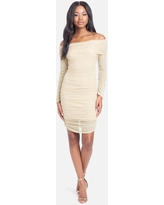 Bebe Women's Off The Shoulder Mesh Mini Dress, Size Small in Taupe Polyester/Spandex/Nylon